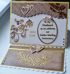 Added image to an easel card using my own papers. adhered decoupage with pinflair gel and adhered my own die cuts, a gorgeous image, thank you :) margaret x Golden Wedding Anniversary, Anniversary Cards, Easel Cards, Quick Cards, Husband Wife, I Card, Decoupage, Card Making, Paper