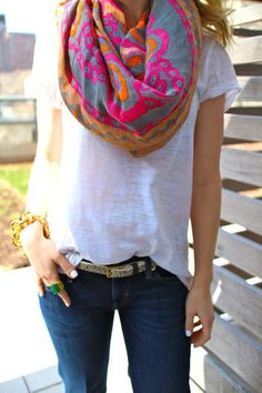 Need to add some colorful scarves to brighten up simple outfits