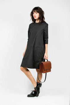 Pari Stretch A-Line Dress, Black by Acne Studioes   #acnestudios #kickpleat #blackdress