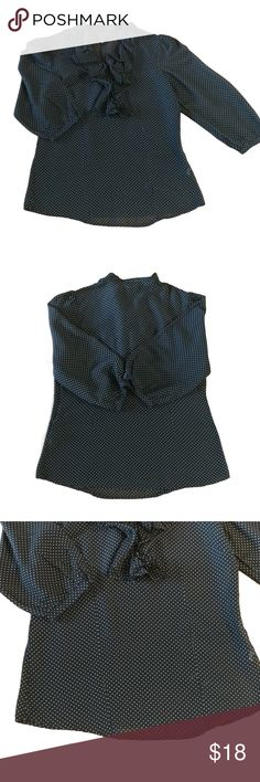 """Lucky Brand Top Black Ivory Polka Dot 3/4 Sleeve You will stay stylish and chic in this cute ruffled top from Lucky Brand!  Size:S Color:Black, Ivory Style Type:V-Neck Blouse Care:Machine washable Fabric:74% Cotton, 26% Silk Measurements:Length 23"""", Pit-to-Pit 17.5"""", Waist 33"""" More Information:Side zip closure. V-Neck. 3/4 sleeves. Allover polka dot print. Ruffled at chest. Slightly sheer; lightweight. In great condition- very gently worn! No stains, tears, or snags noted. From a pet & smoke…"""