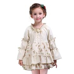 29d4a2d211c Autumn Girls dress kid Cotton princess Robe children Retro Tiered long  sleeved ball gown Party clothing For Baby