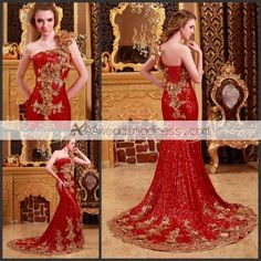 Luxury Mermaid One Shoulder Empire Beaded Ctystal Embroidery Red/Gold Evening Dress
