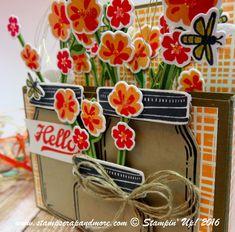 Pop Up Card using Jar of Love. Flower Box, Card in a Box