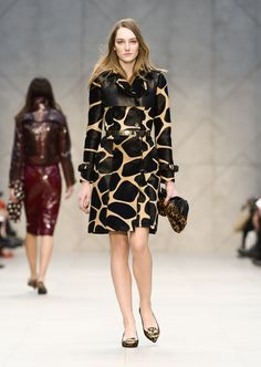 An animal print trench coat and the Little Crush bag on the Burberry A/W13 Womenswear runway