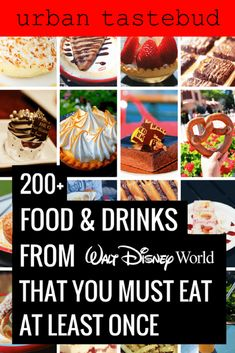 Here's everything that you absolutely must eat and drink at Disney World. From all 4 parks, all the way to the amazing resorts and Disney Springs, there are so many delicious foods that'll guarantee to satisfy your tastebuds!