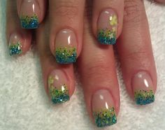 Blue and green sparkles with shamrock nails, princess nails