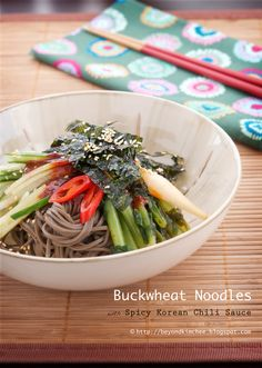 Cold buckwheat noodles with spicy chili sauce. Hands down one of my favorites. It's so good during the  summer or anytime actually.