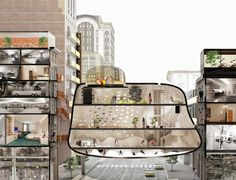 Heart of the District is an Innovative Hotel Lobby that Hangs Like a Parasite Between Existing Buildings