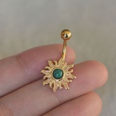 turquoise belly button ringssun belly by vickybodyjewelry on Etsy