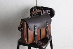 Handmade leather men Briefcase messenger Coffee Brown shoulder bag vin | EverHandmade