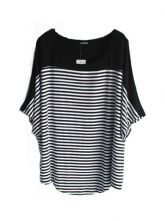 Black And White Stripe Round Neck Half Sleeve Curved Hem T-Shirt $28.48
