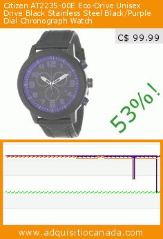 Citizen AT2235-00E Eco-Drive Unisex Drive Black Stainless Steel Black/Purple Dial Chronograph Watch (Watch). Drop 53%! Current price C$ 99.99, the previous price was C$ 211.25. https://www.adquisitiocanada.com/citizen/at2235-00e-eco-drive