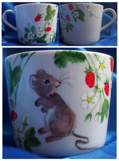 In the wild strawberry by Agnieszka Sokołowska. Hand painted on porcelain. All my porcelains are painted with Talens Decorfin Porcelain and baked in high temperature, so they are pretty durable. #xantosia #wildstrawberry #mice #mysz #myszka #mouse #poziomki #kubek #mug #cup #porcelain #ceramic #handpainted #reczniemalowane #handmade #porcelainpainter #porcelart #porcelainart #teatime #design #decor