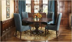Asolo Dining Table  Dining Room in Blue, Brown & Gold