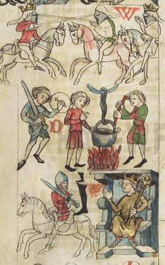 HAB Cod. Guelf. 3.1 Aug. 2° Der Sachsenspiegel Medieval Drawings, Arm Armor, 15th Century, Knight, Vintage World Maps, Objects, Arms, Germany, Cod