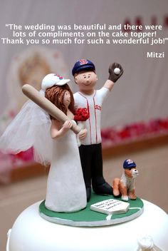 "Red Sox Wedding Cake Topper    Go Red Sox go! That's the favorite cheer of this couple, who are obviously huge fans of the Red Sox. The groom wears their jersey with pride, and even their dog has a sox cap! As you can see from the bride's comment, this personalized wedding cake topper was a ""home run""......."