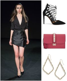 GNO! Our favorite night of the week calls for an all black outfit by #czechdesigner @MichalKovacik , #aquazurra stilettos, #kendrascott earings, and a #valentino clutch. #GNO #girlsnightout #whattowear