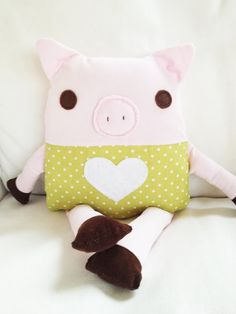 Toy Pig Sewing Pattern - Pig Doll Softie Sewing Pattern. I feel like with the right adjustments this could be almost any animal.