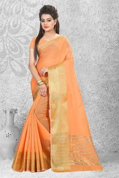 LadyIndia.com #Zari Embroidered, Urban Naari 21756 Light Orange Designer Cotton Silk Zari Embroidered Saree, Zari Embroidered, https://ladyindia.com/collections/ethnic-wear/products/urban-naari-21756-light-orange-designer-cotton-silk-zari-embroidered-saree