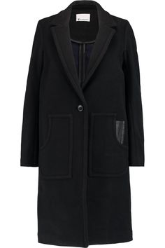 Shop on-sale T by Alexander Wang Leather-trimmed boiled wool coat. Browse other discount designer Coats & more on The Most Fashionable Fashion Outlet, THE OUTNET.COM