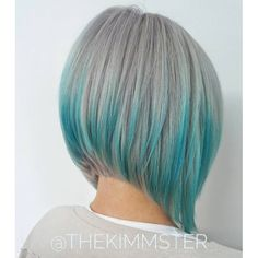 Gray Bob With Blue Highlights; Olivia's hair with the blue highlights Bob Hairstyles 2018, Short Bob Haircuts, Latest Hairstyles, Funky Bob Hairstyles, Stacked Haircuts, Edgy Haircuts, Simple Hairstyles, Wedding Hairstyles, Graduated Haircut