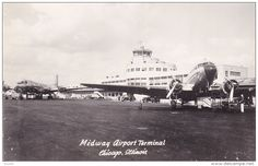 RP; Prop Airplane , Midway Airport Terminal , Airport , Chicago , Illinois , 1930s - Delcampe.com