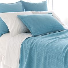 Diamond Azure Matelasse Coverlet and Shams