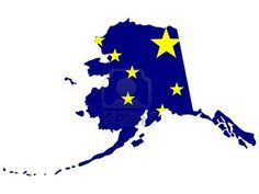 Map and flag of the State of Alaska