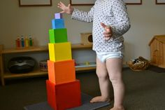 The Coloured Tower - Our toddler version of the Montessori Pink Tower - How We Montessori