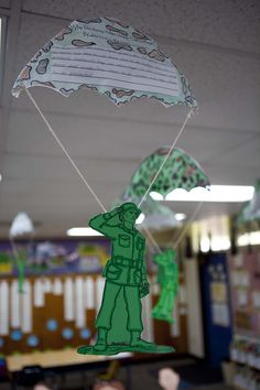 "Year 6 Toy Story themed classroom ~"" Why army men wear camouflage"" writing prompt Toy Story Room, Toy Story Theme, Toy Story Birthday, Toy Story Party, 7th Birthday, School Displays, Classroom Displays, Classroom Themes, Future Classroom"