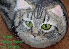 Learn how to paint a cat on a rock.