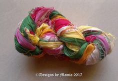 Pink Lotus Inspired Sari Yarn, Sari Silk Ribbon, Weaving Yarn, Multicolored Recycled Sari Silk Ribbon, Ribbon Yarn,Recycled Sari Silk Ribbon by Mamta on Etsy