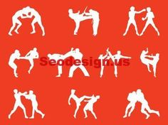 Awesome Fighting People Silhouettes Vector Art Graphics Download #graphics #silhouettes #fighting