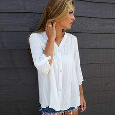 Natural Silk Women Three Quarter Sleeve Blouses, backless & different size for choice, floral, white - yyw.com