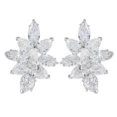 20 Carat Fancy Shape Diamond Platinum Earrings | From a unique collection of vintage more earrings at https://www.1stdibs.com/jewelry/earrings/more-earrings/
