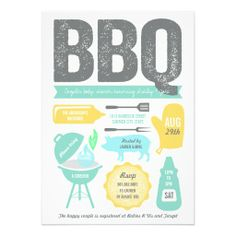 BBQ Barbecue Couples Boy Baby Shower Summer Party Card