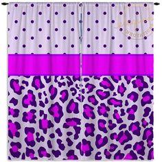 Purple Polka Dot Curtains - Cheetah Print - Purple Curtain - Kids Custom Size… #IkeaCurtains Polka Dot Curtains, Purple Curtains, Ikea Curtains, Window Curtains, Design Show, All Design, Subtle Textures, Cheetah Print, Polka Dots