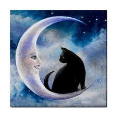 L Moon Paintings | ... -Tile-Coaster-or-Framed-Tile-black-Cat-580-moon-art-painting-L-Dumas