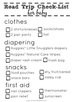 Road Trip Checklist For Baby