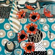 Poppies and plum crop Colorful Bold Prints by Jane Walker Printmaker