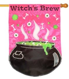 Witches Brew Applique House Flag