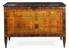 A NORTH ITALIAN WALNUT AND FRUITWOOD MARQUETRY COMMODE IN THE MANNER OF GIOVANNI MAFFEZZOLI, LOMBARDY, CIRCA 1800