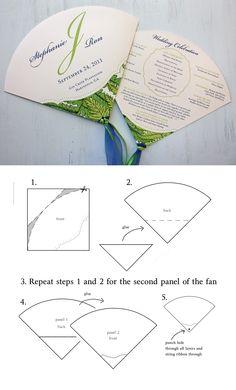 DIY wedding program fan with instructions