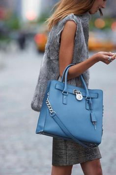 My Christmas present. The Hamilton Tote in surf blue. I love Michael Kors. #Micheal #Kors #Handbags