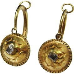 Renaissance Gold Earrings 16th Century circa 1600 Table Cut Diamond... ❤ liked on Polyvore featuring jewelry, earrings, diamond jewelry, antique gold earrings, 18k diamond earrings, gold diamond jewelry and antique jewelry #GoldJewellery16ThCentury