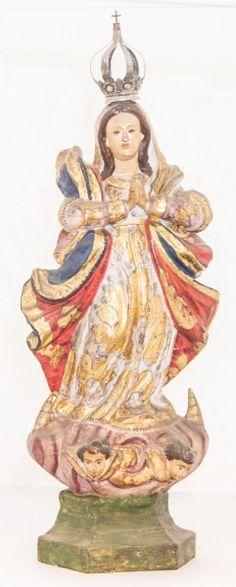 Imagem de madeira policromada, Nossa Senhora da Conceição. Bahia, século XIX. Alt. 45cm. Não vendida. Base 4.700,00.