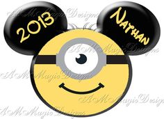 Minion Dispicable Me inspired Mickey Mouse Head Shirt Iron On Transfer (OR DIY FILE) Personalized Disneyland Disney Family Vacation Applique on Etsy, $4.25