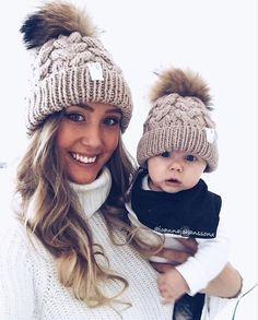 Hot New Mummy and Baby Knitted Beanies with Pompom d85e58d1607