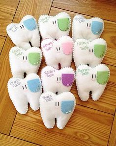 Handmade Personalised Tooth Fairy Pillows! Little pockets for the tooth and the coin I have lots of different colours for the pockets.