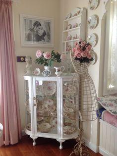Pinterest shabby chic dining room | Corner cupboard in my dining room. Shabby chic pink ... | Home Sweet ...